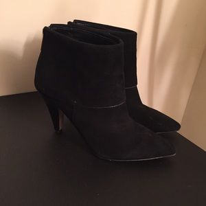 Ivanka Trump Black Suede Pointed Toe Bootie | 7